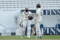 All smiles as Hashim Amla is congratulated on his double century by Jamie Smith during Surrey CCC vs Hampshire CCC, LV Insurance County Championship Group 2 Cricket at the Kia Oval on 30th April 2021