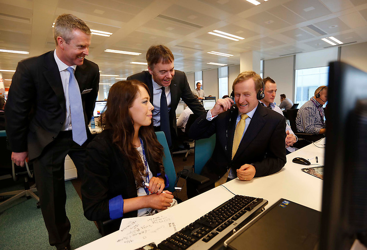 Sky's new Irish base officially opened by.An Taoiseach Enda Kenny TD.Recruitment continues for 800 new positions created at Sky's Customer Contact Centre.Pictured here are J.D. Buckley, Managing Director, Sky Ireland (left), Sarah Callanan, Service Advisor Sky Ireland,  Jeremy Darroch, CEO of Sky and An Taoiseach, Enda Kenny TD..Friday 18th January 2013 - An Taoiseach, Enda Kenny TD today joined Jeremy Darroch, CEO of Sky to officially open the company's new operations centre at Burlington Plaza on Burlington Road. The move represents part of Sky's commitment to invest in its Irish business, including the significant recruitment drive which is currently underway for 800 roles at its Customer Contact Centre..Sky, Ireland's most popular digital TV provider, created the 800 new jobs in order to meet increased service demands from Irish customers and to enable it to serve them from one dedicated site for the first time. Interested applicants can visit www.skycustomercentres.com for more information..Pic: Robbie Reynolds
