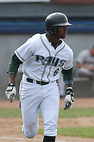 Tim Beckham of the Princeton Devil Rays running to first base during a game against the Greeneville Astros in an Appalachian League game at Hunnicutt Field in Princeton, WV on July 20, 2008