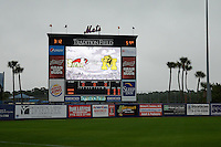 General view of the scoreboard before the second game of a doubleheader between the Michigan Wolverines and Siena Saints on February 27, 2015 at Tradition Field in St. Lucie, Florida.  Michigan defeated Siena 6-0.  (Mike Janes/Four Seam Images)