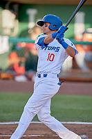 Moises Perez (10) of the Ogden Raptors bats against the Orem Owlz at Lindquist Field on June 22, 2019 in Ogden, Utah. The Owlz defeated the Raptors 7-4. (Stephen Smith/Four Seam Images)