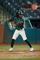 Jesus Valdez (5) of the Greensboro Grasshoppers at bat against the Winston-Salem Dash at First National Bank Field on June 3, 2021 in Greensboro, North Carolina. (Brian Westerholt/Four Seam Images)