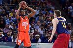 Valencia Basket's Will Thomas and FCB Lassa's Aleksandar Vezenkov during Semi Finals match of 2017 King's Cup at Fernando Buesa Arena in Vitoria, Spain. February 18, 2017. (ALTERPHOTOS/BorjaB.Hojas)