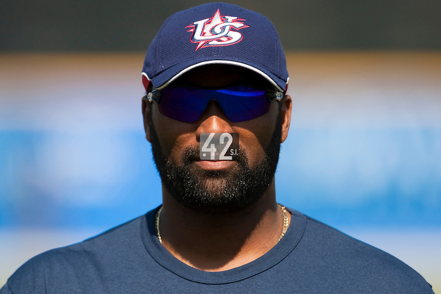 27 September 2009: Coach Emie Young of Team USA is seen prior to the 2009 Baseball World Cup gold medal game won 10-5 by Team USA over Cuba, in Nettuno, Italy.