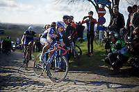 Antoine Demoitié (BEL/Wanty-Groupe Gobert) on top of the Paterberg<br /> <br /> E3 - Harelbeke 2016