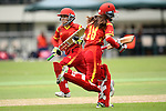 Zou Miao (l) and Zhou Caiyun of China during their ICC 2016 Women's World Cup Asia Qualifier match between China and Nepal on 11 October 2016 at the Kowloon Cricket Club in Hong Kong, China. Photo by Marcio Machado / Power Sport Images
