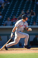 Scottsdale Scorpions designated hitter Tim Tebow (15), of the New York Mets organization, singles to left field in the fourth inning for his first hit of the Arizona Fall League season during a game against the Mesa Solar Sox on October 18, 2016 at Sloan Park in Mesa, Arizona.  Mesa defeated Scottsdale 6-3.  (Mike Janes/Four Seam Images)