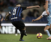 Calcio, Serie A: SS Lazio vs Internazionale Milano, Olympic stadium, Rome, October 29, 2018.<br /> Inter's captain Mauro Icardi scores his second goal in the match during the Italian Serie A football match between SS Lazio and Inter Milan at Rome's Olympic stadium, on October 29, 2018.<br /> UPDATE IMAGES PRESS/Isabella Bonotto