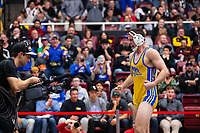 STANFORD, CA - March 7, 2020: Josh Loomer of Cal State Bakersfield celebrates during the 2020 Pac-12 Wrestling Championships at Maples Pavilion.