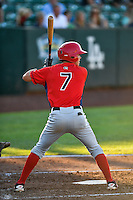 Sam McDonnell (7) of the Orem Owlz at bat against the Ogden Raptors in Pioneer League action at Lindquist Field on June 27, 2016 in Ogden, Utah. Orem defeated Ogden 4-3. (Stephen Smith/Four Seam Images)