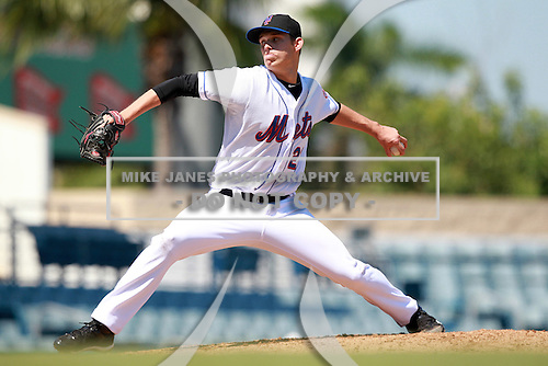 New York Mets minor league pitcher Zach Dotson (21) during a game vs. the Minnesota Twins in an Instructional League game at City of Palms Park in Fort Myers, Florida;  October 4, 2010.  Photo By Mike Janes/Four Seam Images