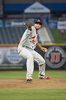 Nick Greenwood (31) of the Memphis Redbirds delivers a pitch to the plate against the Omaha Storm Chasers in Pacific Coast League action at Werner Park on April 24, 2015 in Papillion, Nebraska.  (Stephen Smith/Four Seam Images)