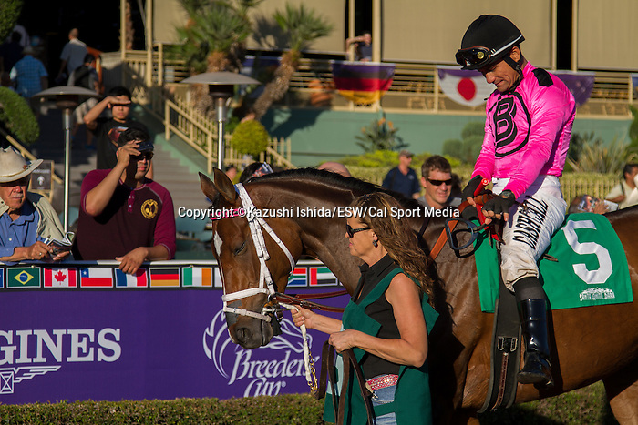 OCT 25,2014:Lexie Lou,ridden by Corey Nakatani,wins the Autumn Miss Stakes at Santa Anita Park in Arcadia,CA. Kazushi Ishida/ESW/CSM
