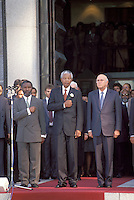 © Chris Sattlberger / Panos Pictures..Cape Town, SOUTH AFRICA..Thabo Mbeki, Nelson Mandela and FW De Klerk outside parliament after the first multiracial elections of April 1994.