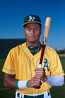 AZL Athletics Gold Marcus Smith (5) poses for a photo before an Arizona League game against the AZL Rangers on July 15, 2019 at Hohokam Stadium in Mesa, Arizona. The AZL Athletics Gold defeated the AZL Rangers 9-8 in 11 innings. (Zachary Lucy/Four Seam Images)