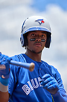 FCL Blue Jays Rikelin De Castro (27) on deck during a game against the FCL Yankees on June 29, 2021 at the Yankees Minor League Complex in Tampa, Florida.  (Mike Janes/Four Seam Images)