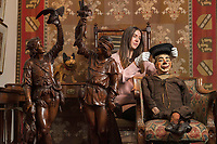 BNPS.co.uk (01202 558833)<br /> Pic: ZacharyCulpin/BNPS<br /> <br /> Pictured: An eclectic array of Continental figures and other unusual antiques sold for thousands of pounds with a British auction house.<br /> <br /> The sale featured a pair of Italian late 19th century walnut huntsmen figures which sold for £26,000, while an early 20th century ventriloquist's dummy in a sailor's costume which sold for £1300<br /> <br /> Other items that went under the hammer  with auctioneers Woolley & Wallis, of Salisbury, Wilts, were the Sir Michael Codron Collection of Lions, consisting of needlework, pottery and brass.