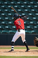 Jonathan Ornelas (3) of the Hickory Crawdads at bat against the Greensboro Grasshoppers at L.P. Frans Stadium on May 26, 2019 in Hickory, North Carolina. The Crawdads defeated the Grasshoppers 10-8. (Brian Westerholt/Four Seam Images)