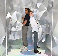 """SANTA MONICA, CA - JUNE 11: Michael Cimino (L) and George Sear pose for a photo at a special photo-activation in honor of Pride Month and the Season 2 premiere of the Hulu Original Series """"Love, Victor,"""" on June 11, 2021 in Santa Monica, California. (Photo by Frank Micelotta/Hulu/PictureGroup)"""