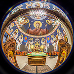Theotokos, Mother of God behind the alter in this fisheye lens view of Holy Trinity Serbian Orthodox Church, Butte, Montana