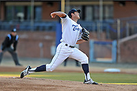 Asheville Tourists starting pitcher Zach Jemiola #27 delivers a pitch during a game against the West Virginia Power at McCormick Field on April 9, 2014 in Asheville, North Carolina. The Tourists defeated the Power 5-3. (Tony Farlow/Four Seam Images)