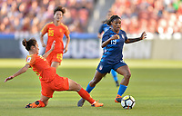 Sandy, Utah - Thursday June 07, 2018: Crystal Dunn, Wu Haiyan during an international friendly match between the women's national teams of the United States (USA) and China PR (CHN) at Rio Tinto Stadium.