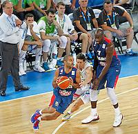 "Tony Parkerof France in action during European basketball championship ""Eurobasket 2013"" quarter-final basketball game between Slovenia and France in Stozice Arena in Ljubljana, Slovenia, on September 18. 2013. (credit: Pedja Milosavljevic  / thepedja@gmail.com / +381641260959)"