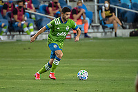 SAN JOSE, CA - OCTOBER 18: Alex Roldan #16 of the Seattle Sounders dribbles the ball during a game between Seattle Sounders FC and San Jose Earthquakes at Earthquakes Stadium on October 18, 2020 in San Jose, California.