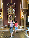 Tourists view the frescoes inside the Patriarchate church on top of the hill of the fortress of Tsarevts, Veliko Tarnovo, Bulgaria<br /> <br /> There frescoes depict the rise and fall of the Second Bulgarian Empire in the 12th century.