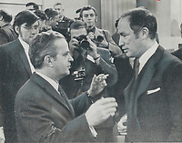 1969 FILE PHOTO - ARCHIVES -<br /> <br /> Prime Minister Pierre Trudeau; right; warmly welcomes Quebec Premier Jean-Jacques Bertrand to Ottawa's old Union Station today for talks on bread-and-butter issues in Canada. But when Bertrand slammed Ottawa's bid to take over Quebec's social services in a 40-minute televised speech; an obviously-miffed Trudeau hinted delegates may be led to see benefits of in camera or off camera sessions.<br /> <br /> PHOTO :  Jeff Goode - Toronto Star Archives - AQP