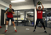 (L-R) Federico Fernandez and Roque Mesa exercise in the gym during the Swansea City Training at The Fairwood Training Ground, Swansea, Wales, UK. Wednesday 01 November 2017