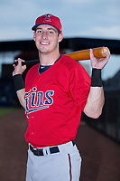 Brent Rooker (25) of the Elizabethton Twins poses for a photo prior to the game against the Danville Braves at American Legion Post 325 Field on July 1, 2017 in Danville, Virginia.  The Twins defeated the Braves 7-4.  (Brian Westerholt/Four Seam Images)