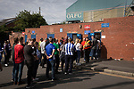 Oldham Athletic 0 Hartlepool United 0, 18/09/2021. Boundary Park, League 2. Visiting supporters queueing to get into the Chadderton Road end before Oldham Athletic play Hartlepool United in a League 2 fixture at Boundary Park. Before the game, more than 500 fans protested against owner Abdallah Lemsagam's running of the club, including some who carried a mock coffin outside the ground. The match ended 0-0, watched by 3934 spectators. Photo by Colin McPherson.