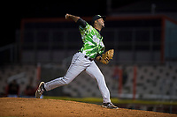Eugene Emeralds relief pitcher Ivan Medina (36) delivers a pitch during a Northwest League game against the Salem-Keizer Volcanoes at Volcanoes Stadium on August 31, 2018 in Keizer, Oregon. The Eugene Emeralds defeated the Salem-Keizer Volcanoes by a score of 7-3. (Zachary Lucy/Four Seam Images)