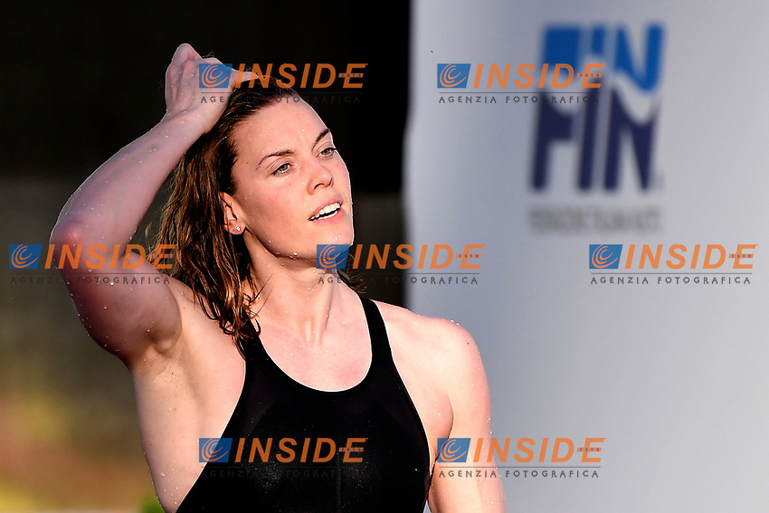 Femke Heemskerk of Netherlands reacts after compete in the women 100m freestyle during the 58th Sette Colli Trophy International Swimming Championships at Foro Italico in Rome, June 26th, 2021. Femke Heemskerk placed first.