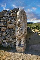 Picture & image of Hittite Sphinx sculpture of the Sphinx Gate. Hattusa (also Ḫattuša or Hattusas) late Anatolian Bronze Age capital of the Hittite Empire. Hittite archaeological site and ruins, Boğazkale, Turkey.