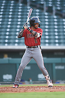 AZL D-backs Wilderd Patino (16) at bat during an Arizona League game against the AZL Cubs 1 on July 25, 2019 at Sloan Park in Mesa, Arizona. The AZL D-backs defeated the AZL Cubs 1 3-2. (Zachary Lucy/Four Seam Images)