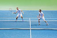 Switserland, Genève, September 19, 2015, Tennis,   Davis Cup, Switserland-Netherlands, Doubles: Thiemo de Bakker/Matwe Middelkoop (NED) (R)<br /> Photo: Tennisimages/Henk Koster