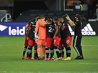 WASHINGTON, DC - SEPTEMBER 12: D.C. United getting in the huddle during a game between New York Red Bulls and D.C. United at Audi Field on September 12, 2020 in Washington, DC.