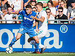 Francisco Portillo Soler of Getafe CF (L) fights for the ball with Marcos Llorente of Real Madrid (R) during the La Liga 2017-18 match between Getafe CF and Real Madrid at Coliseum Alfonso Perez on 14 October 2017 in Getafe, Spain. Photo by Diego Gonzalez / Power Sport Images