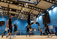 Rahmon Fletcher of Newcastle Eagles driving to the basket during the BBL Championship match between Surrey Scorchers and Newcastle Eagles at Surrey Sports Park, Guildford, England on 20 March 2021. Photo by Liam McAvoy.