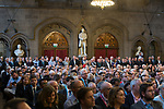 © Joel Goodman - 07973 332324 . 02/10/2017. Manchester, UK. The audience listens to speakers , at a fringe , right-wing Bruges Group event attended by Jacob Rees-Mogg , at the Great Hall at Manchester Town Hall , during the second day of the Conservative Party Conference at the Manchester Central Convention Centre . Photo credit : Joel Goodman