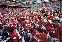 Arkansas players react, Saturday, October 17, 2020 during Arkansas' 33-21 win over Ole Miss at Donald W. Reynolds Razorback Stadium in Fayetteville. Check out nwaonline.com/201018Daily/ for today's photo gallery. <br /> (NWA Democrat-Gazette/Charlie Kaijo)