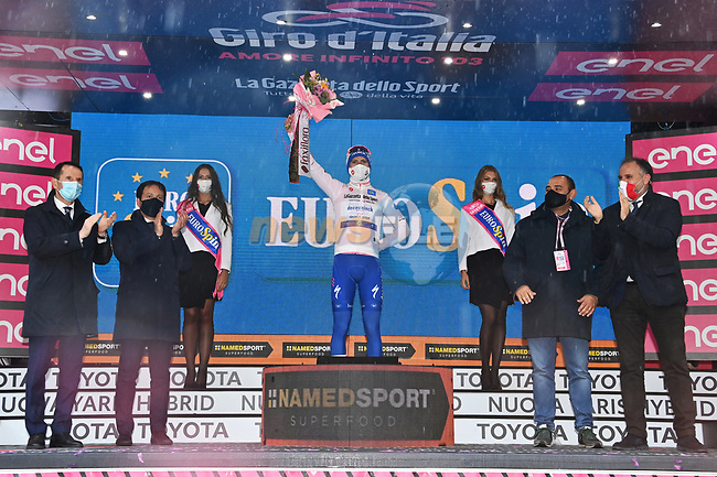 Race leader Joao Almeida (POR) Deceuninck-Quick Step also retains the young riders Maglia Bianca at the end of Stage 9 of the 103rd edition of the Giro d'Italia 2020 running 208km from San Salvo to Roccaraso (Aremogna), Sicily, Italy. 11th October 2020.  <br /> Picture: LaPresse/Gian Mattia D'Alberto | Cyclefile<br /> <br /> All photos usage must carry mandatory copyright credit (© Cyclefile | LaPresse/Gian Mattia D'Alberto)