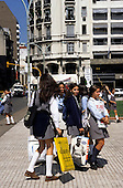 Buenos Aires, Argentina. Schoolgirls on their way home from school.