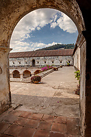 Antigua, Guatemala.  Capuchinas Convent, Built 1736.  Entrance to Walkway overlooking Courtyard.