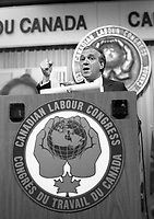Montreal (Qc) CANADA - Mai 27 1984 - Ed Broadbent, NDP Leader speak at Canadian labour Congress convention.<br /> <br /> PHOTO :  Agence Quebec Presse