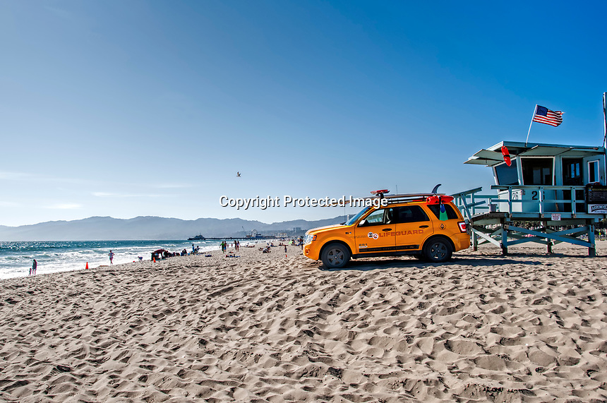 A beautiful day at the beach in Santa Monica, California.