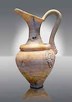 Alabaster jug possibly imported from Minoan Crete.   Mycenae graves, Greece. 15th century BC,  National Archaeological Museum, Athens.