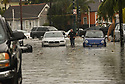 Heavy rains flooded streets in the historic Faubourg Marigny after city pumps were overwhelmed in New Orleans, Sat., Aug. 5, 2017. (Photo by Cheryl Gerber)
